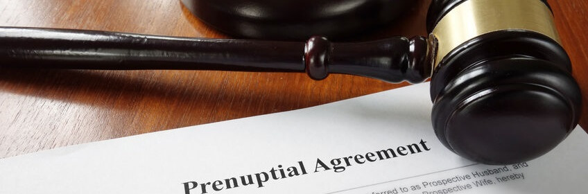 53220517 - prenuptial marriage agreement with legal gavel